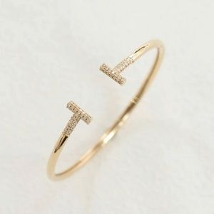 T&Co. CZ 14K Gold Plated Stainless Steel Bracelet
